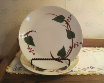 Two Blue Ridge Dinner Plates in the Stanhome Ivy Pattern