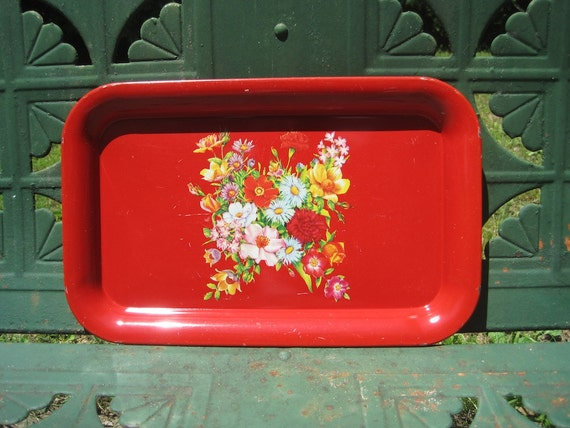 Red Vintage Metal Serving Tray