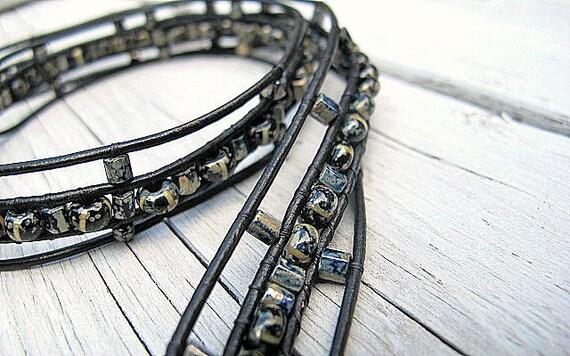 Leather Wrap Bracelet/ Black Leather Triple Wrap Bracelet with Czech Glass: Jet Black Silver Mix