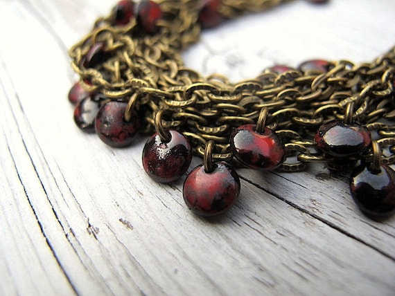 Multi Layered Bracelet, Antique Brass Chain with Red/ Black Czech Glass Coins: Singed Confetti