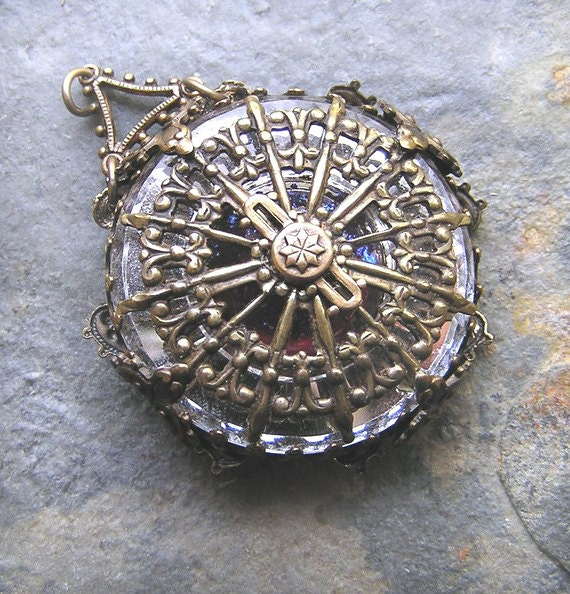 Treasury Item Fantasy Steampunk Compass Pendant