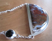 Moss Agate Half Moon Necklace