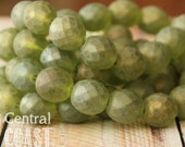 Chardonnay - Czech Glass Faceted Round Firepolished Beads 12mm - 6pcs - Frosty Matte Green AB Picasso - Central Coast Charms