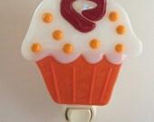 Fused Glass Orange and Vanilla Cupcake Nightlight