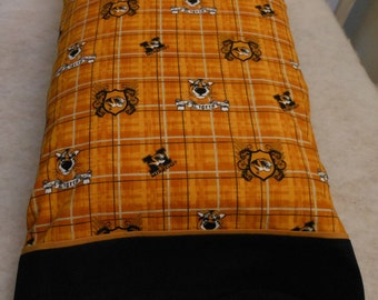 Pillowcase Black Gold Plaid Missouri University Mizzou Tigers Standard or King