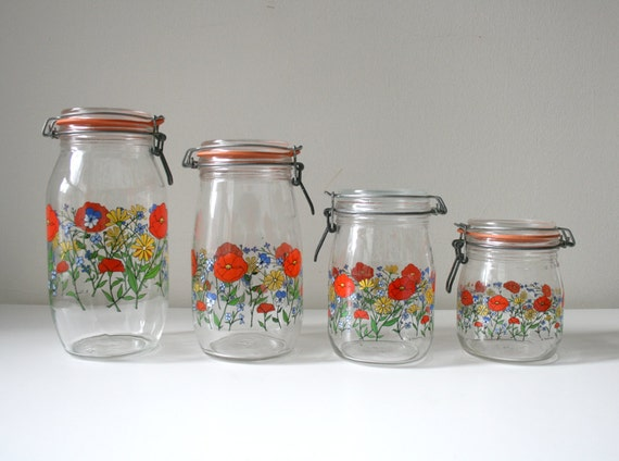 sale arc france floral glass canister set by boxofhollyhocks