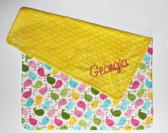 PERSONALIZED Baby Girl Stroller Blanket with Birds and a Canary Yellow Minky