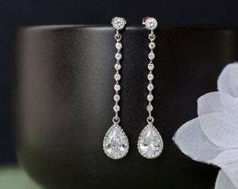 Bridal Earrings, Bridesmaids Earrings, Cubic Zirconia Bridal Earrings, Long Cubic Zirconia Connector and Teardrops,