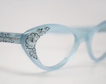 cat eye glasses Blue rhinestone vintage 1950s eyewear cateye frames