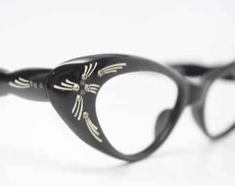 cat eye glasses Black rhinestone vintage 1950s eyewear cateye frames
