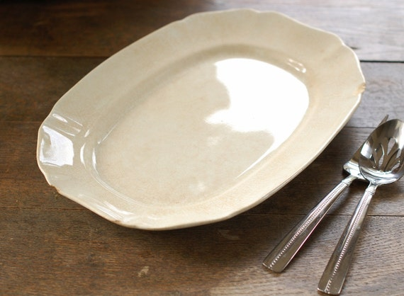 Rustic Antique Ironstone Platter - Scalloped Edge - Alfred Meakin, England