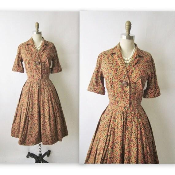 50's Shirtwaist Dress // Vintage 1950's Brown Print Cotton Shirtwaist Mad Men Day Dress S