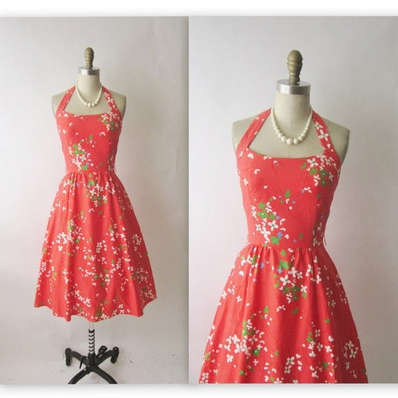 60's Halter Dress // Vintage 1960's Floral Print Garden Party Halter Dress XS