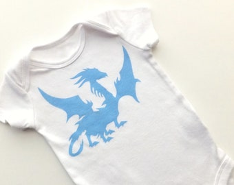 Winged Dragon Baby Bodysuit (Vivid Blue on White Onesie) -- 0-3M Baby Bodysuit