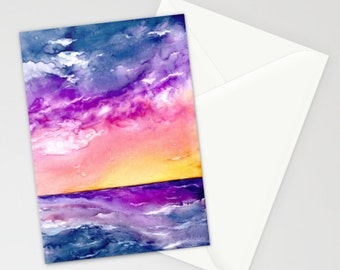 Sunset Storm Art Card - Orange Yellow Seascape Painting - Blank Inside