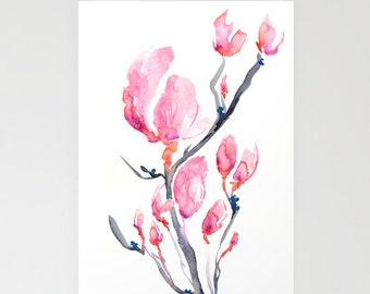 Greeting Card - Japanese Magnolia Floral Sumi-e