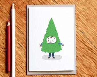 Tree Boy Christmas card, Funny Christmas Card, Funny Holiday Card, Funny Xmas Card, Seasons Greetings, Christmas Gift, Xmas Gift, Funny Card