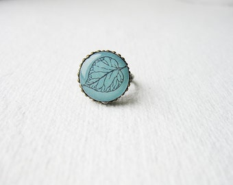 Petite Leaf  - Bright Teal Ring
