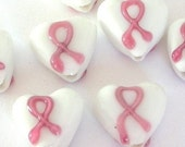 Breast cancer awareness beads, heart lampwork glass, Qty 5