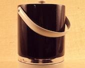 Glossy Black White and Chrome Ice Bucket