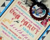 Alice in Wonderland Mad Hatter Tea Party Invitations - Vintage Storybook Tea Party - Set of 10