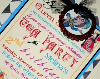 Alice in Wonderland Mad Hatter Tea Party Invitations - Vintage Storybook Tea Party - Set of 10