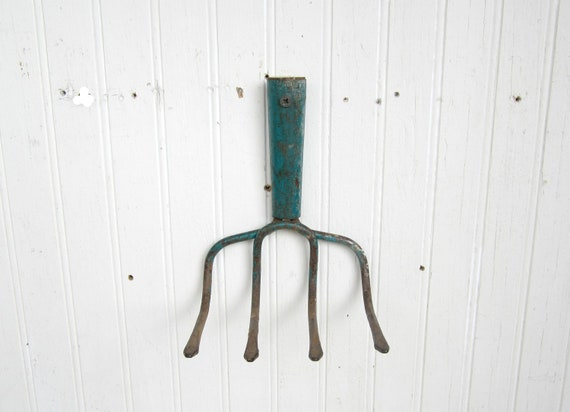 Viintage Rusty Garden Cultivator Head Repurposed For Jewelry Display Or Tool Organizer