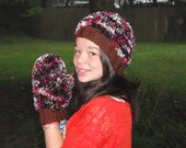 fuzzy warm soft thick boa hat and mittens