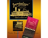Jambalaye Sternwheeler Steamboat Matchbook Print for Wall Decor with bright colors pink black gold - Los Angeles circa 1960s