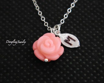 Silver Flower Initial Necklace, Coral Necklace, Initial Jewelry, Flower Girl, Children Necklace, Minimalist Jewelry, Gift for Kid
