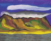 Clouds over False Bay. Gouache Painting and Collage. Limited Edition print one of only 25 FREE postage