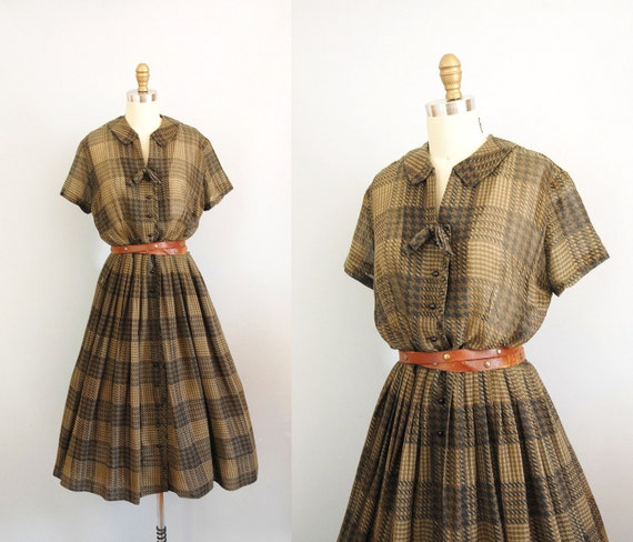 s a l e 1950s Dress / Sheer Olive Dress / 60s Cotton
