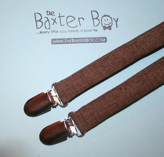 Brown Heather polyester suspenders for little boys - photo prop, wedding, ring bearer, accessory