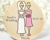 1 Bridesmaid Gifts Pocket Mirrors - Bridal Party - Personalized Wedding Favors