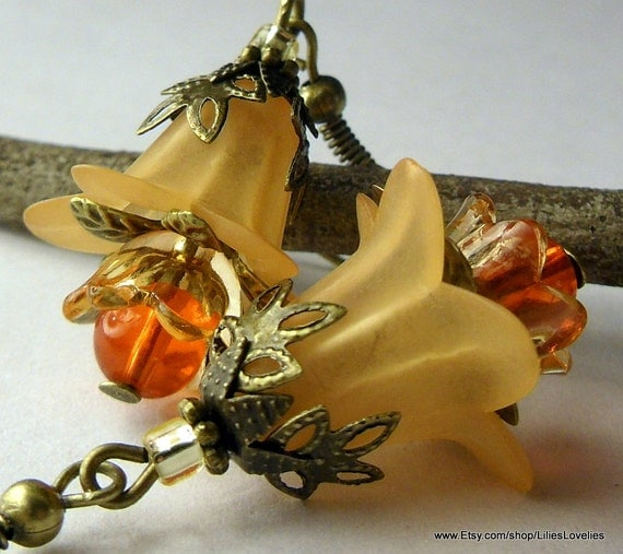 Orange Juice Orchid, Lucite Flower Earrings, Vintage Style, Lucite Flower, Orange, Yellow, Glass, Antiqued Bronze