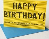 Funny birthday card for all ages - haemorrhoid cream card