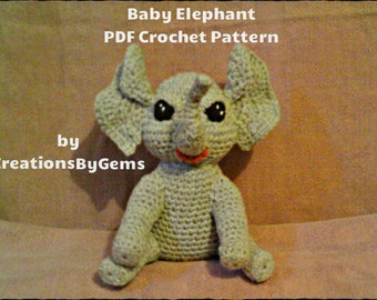 Baby Elephant PDF Crochet Pattern by CreationsByGems