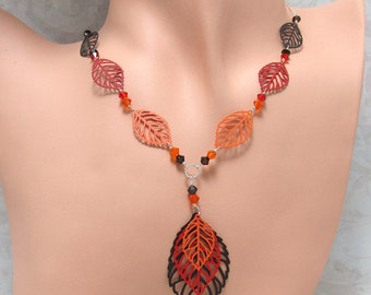 Orange Red Brown Leaf Necklace Leaf Earrings Set Silver