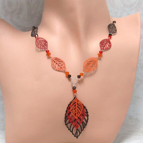 Orange Red Brown Leaf Necklace Leaf Earrings Set Silver