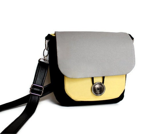 Crossbody Messenger Bag,  Gray Yellow & Black