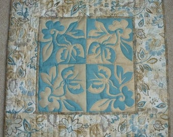 Butterfly and Flowers Aqua and Tan Handquilted Wall Hanging