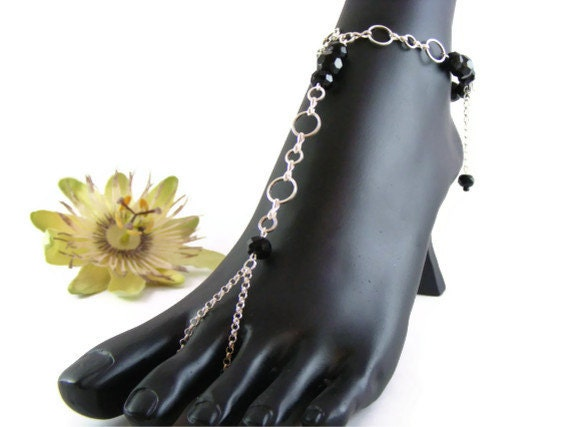 Black barefoot sandals, silver chain foot jewelry, festival wear, destination wedding bridesmaid gift. LAURA Black