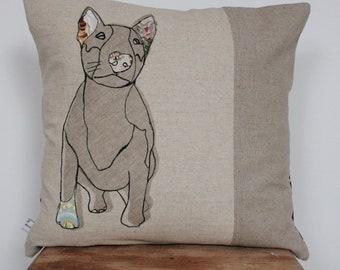 Appliqued Bull Dog cushion