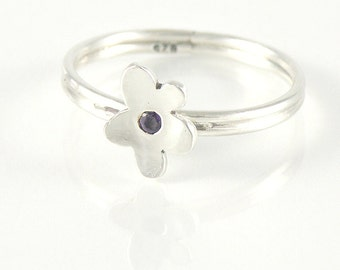 Amethyst Sterling Silver Stacking Ring, Cute Flower Stackable Silver Ring, Amethyst Ring Gift For Teens, Tiny Flower Ring, Stacked Ring