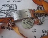 Hand Stamped - Hand Dyed Painted Silk Ribbon Bracelet - Zodiac Constellation - Scorpio - The Scorpion