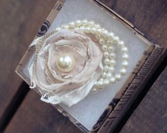 Custom mother of the bride or maid of honor Vintage Pearl Burlap wedding bracelets