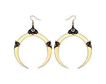 FULL MOON / Large Gold Dangle Earrings / Free Shipping