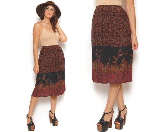 80s Boho Midi Skirt Silk Black Floral Bird Print High Waist Mid Length / Hippie Gypsy Bohemian / Size S Small