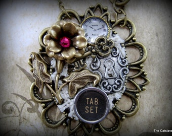 Vintage Collage Necklace, Gift for Her, Mothers Day Gift, Handmade Original Jewelry