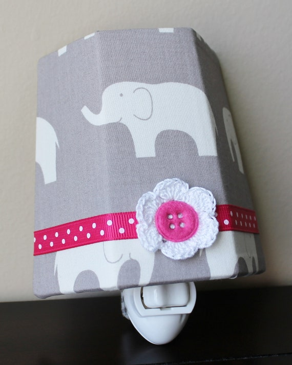 Elephants on Gray With Pink Accents - Organic Fabric - Children's Night Light